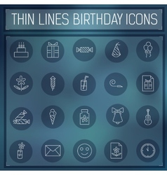thin line happy birthday icons set concept on a vector image vector image