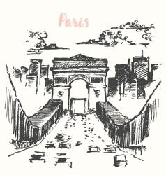 Arch of Triumph Paris vintage drawn vector image