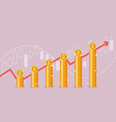 bitcoin with growth graph vector image vector image