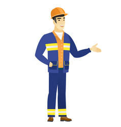 builder with arm out in a welcoming gesture vector image vector image