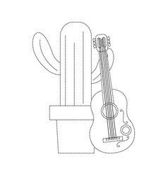 cartoon potted cactus with guitar celebration vector image