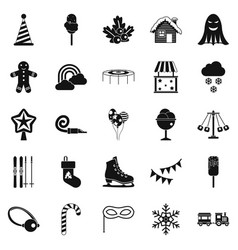 Children holidays icons set simple style vector