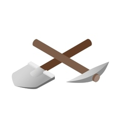 Crossover pickaxe shovel 3d isometric icon vector image vector image