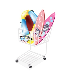 Inflatable Boat and Surfboards in Shopping Cart vector image vector image