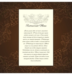 Wine menu card template vector image