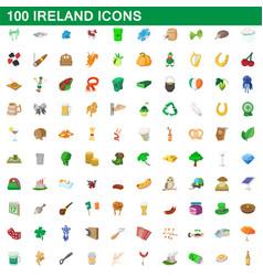 100 ireland icons set cartoon style vector