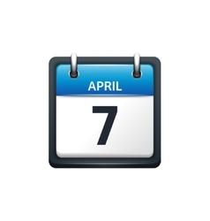 April 7 Calendar icon flat vector image vector image