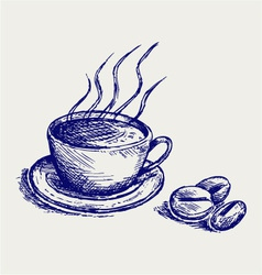 Coffee cup and beans vector image