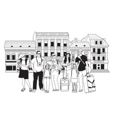 Group tourists people black and white in abstract vector image