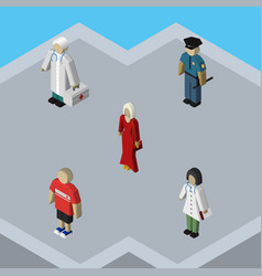 Isometric human set of doctor medic officer and vector
