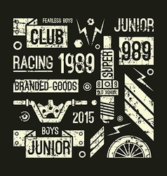 Motorcycle races club badges in retro style vector image vector image