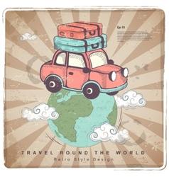 Retro Travel car Earth vector image