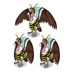 Set of three vultures in bee costume birds vector