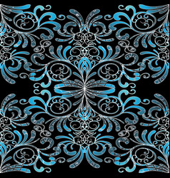 damask seamless pattern floral vintage black blue vector image