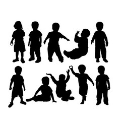 happy kids activity silhouettes vector image