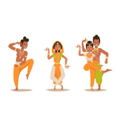 indian woman man dancing isolated dancers vector image vector image