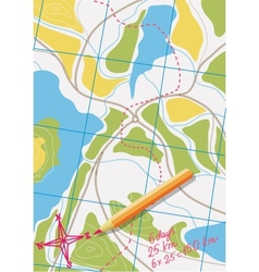 Map of trip on the forests vector image