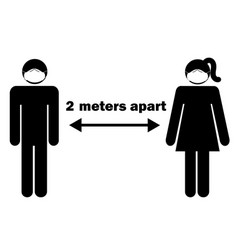 2 meters apart man woman stick figure with facial vector