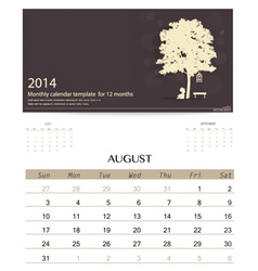 2014 calendar monthly calendar template for August vector image