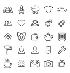 25 outline universal family icons vector
