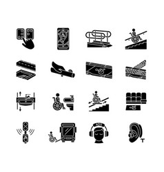 Accessibility facilities black glyph icons set on vector
