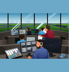Air traffic controller working in the airport vector