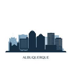 albuquerque skyline monochrome silhouette vector image