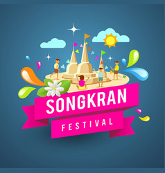 Amazing songkran festival of thailand vector