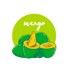 avocado mango hand drawn vector image