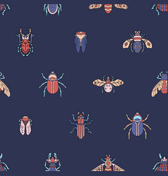 Beetles fly maryls insects seamless pattern vector