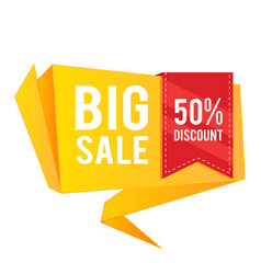 big sale 50 discount red ribbon orange banner vec vector image