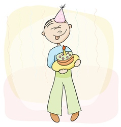 Birthday celebration with cake vector image