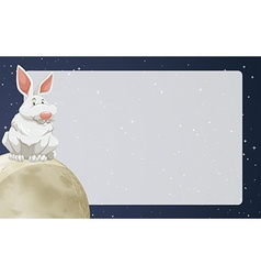 Border design with rabbit on moon vector image