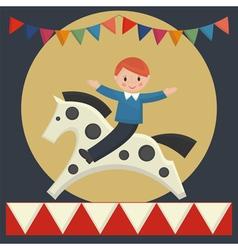 boy sitting on horse vector image