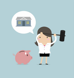 businesswoman try to brake piggy bank for housing vector image