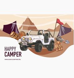 Camping frame design with car bucket shovel vector