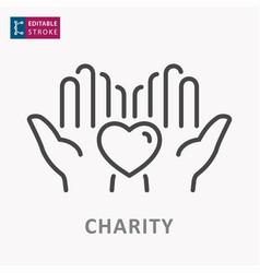 Charity line icon symbol solidarity help vector