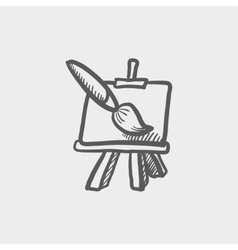 Chart and a paint brush sketch icon vector