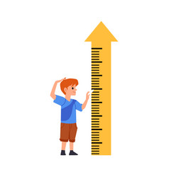 Child standing near height measuring arrow flat vector