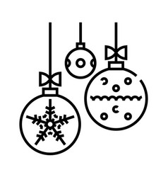 Christmas balls line icon concept sign outline vector