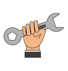 Color silhouette cartoon man holding a wrench tool vector