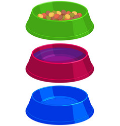 Colorful cartoon pet food empty and full bowl set vector