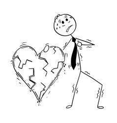 conceptual cartoon of business man having heart vector image