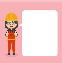 Construction workers making thumb up with speech vector