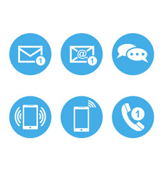 Contact buttons set icons email envelope phone vector