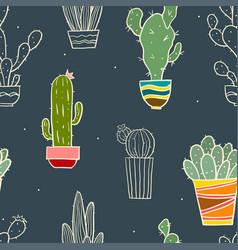 Cute seamless cactus pattern vector