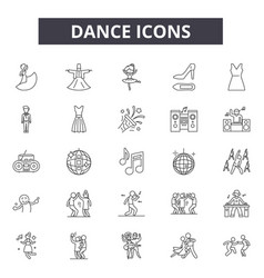 dance line icons for web and mobile design vector image