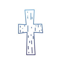 Degraded outline religion wood cross catholic vector