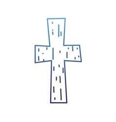 degraded outline religion wood cross catholic vector image