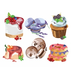 Delicious Desserts set vector image